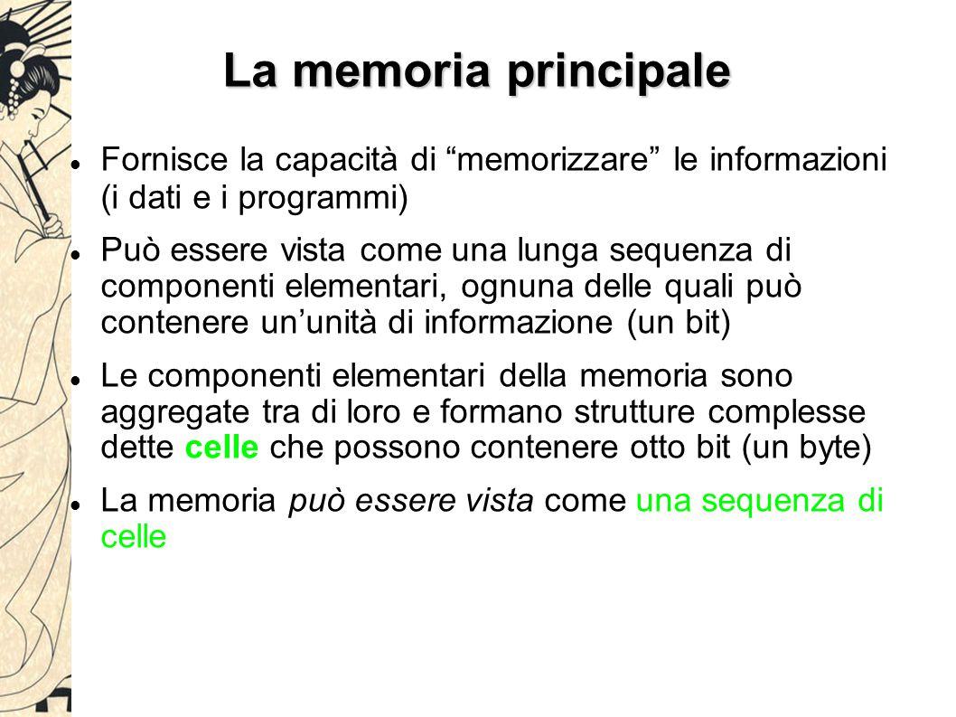 """La memoria principale Fornisce la capacità di """"memorizzare"""" le informazioni (i dati e i programmi) Può essere vista come una lunga sequenza di compone"""