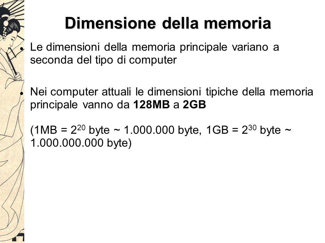 Dimensione della memoria Le dimensioni della memoria principale variano a seconda del tipo di computer Nei computer attuali le dimensioni tipiche dell