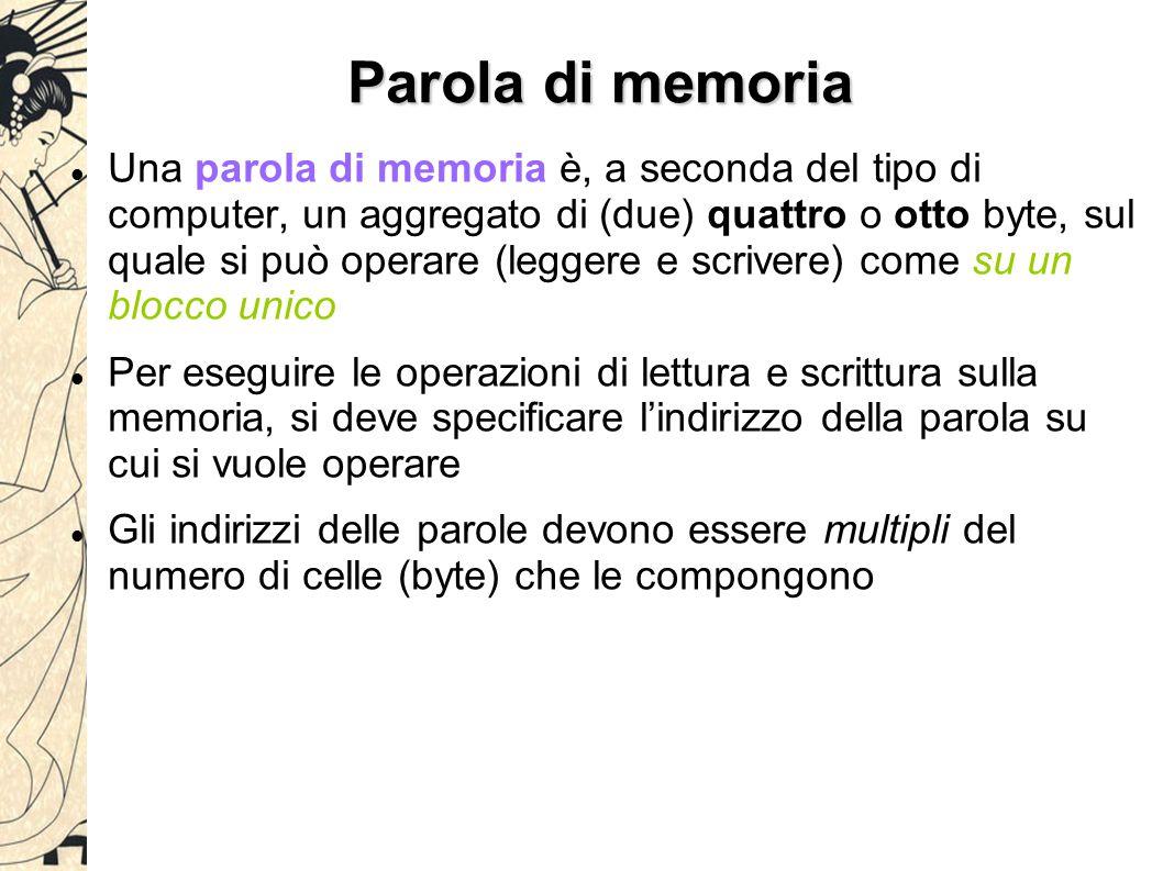 Parola di memoria Una parola di memoria è, a seconda del tipo di computer, un aggregato di (due) quattro o otto byte, sul quale si può operare (leggere e scrivere) come su un blocco unico Per eseguire le operazioni di lettura e scrittura sulla memoria, si deve specificare l'indirizzo della parola su cui si vuole operare Gli indirizzi delle parole devono essere multipli del numero di celle (byte) che le compongono