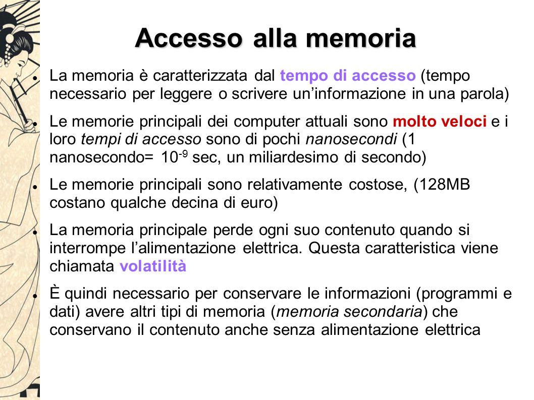 Accesso alla memoria La memoria è caratterizzata dal tempo di accesso (tempo necessario per leggere o scrivere un'informazione in una parola) Le memorie principali dei computer attuali sono molto veloci e i loro tempi di accesso sono di pochi nanosecondi (1 nanosecondo= 10 -9 sec, un miliardesimo di secondo) Le memorie principali sono relativamente costose, (128MB costano qualche decina di euro) La memoria principale perde ogni suo contenuto quando si interrompe l'alimentazione elettrica.