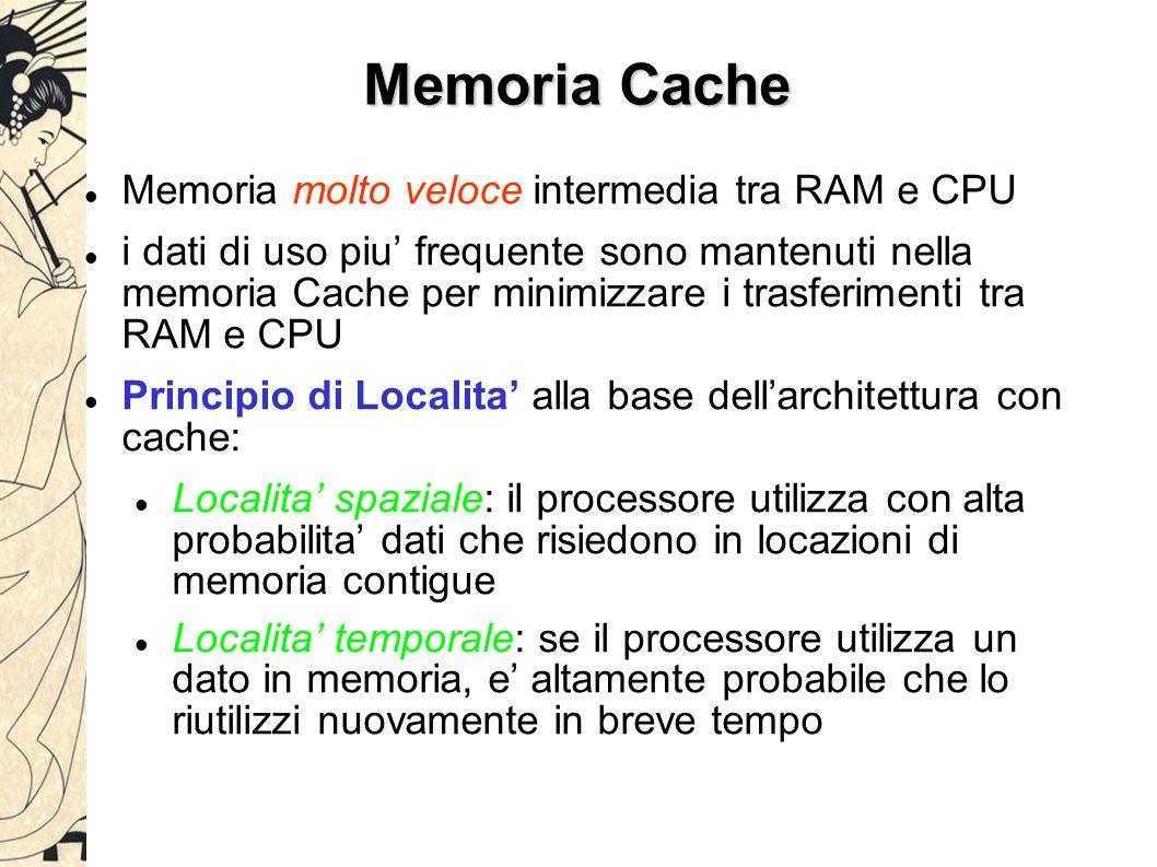 Memoria Cache Memoria molto veloce intermedia tra RAM e CPU i dati di uso piu' frequente sono mantenuti nella memoria Cache per minimizzare i trasferimenti tra RAM e CPU Principio di Localita' alla base dell'architettura con cache: Localita' spaziale: il processore utilizza con alta probabilita' dati che risiedono in locazioni di memoria contigue Localita' temporale: se il processore utilizza un dato in memoria, e' altamente probabile che lo riutilizzi nuovamente in breve tempo