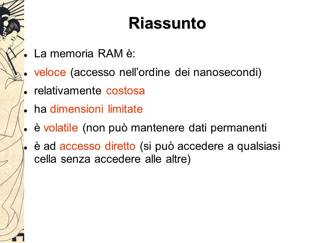 Riassunto La memoria RAM è: veloce (accesso nell'ordine dei nanosecondi) relativamente costosa ha dimensioni limitate è volatile (non può mantenere dati permanenti è ad accesso diretto (si può accedere a qualsiasi cella senza accedere alle altre)