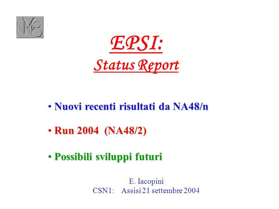 Futuro… EOI CERN-SPSC-2004-010 del 16-04-2004 LOI sarà presentata a Villars (26 sett. 2004)