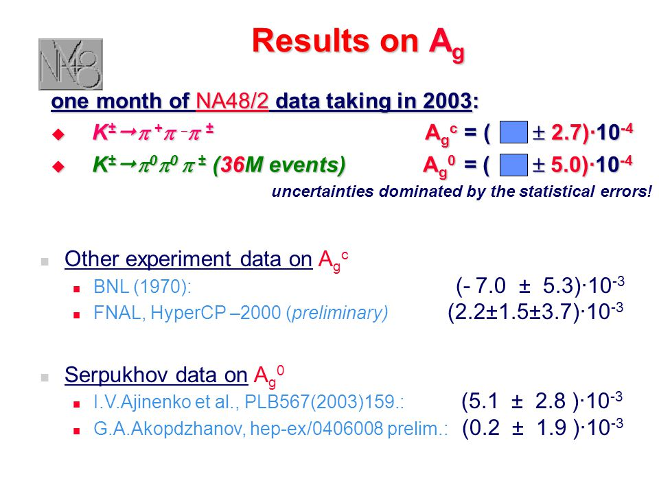 Results on A g one month of NA48/2 data taking in 2003:  K ±   +    ± A g c = (  2.7)∙10 -4  K ±   0  0  ± (36M events) A g 0 = (  5.0)∙10 -4 uncertainties dominated by the statistical errors.