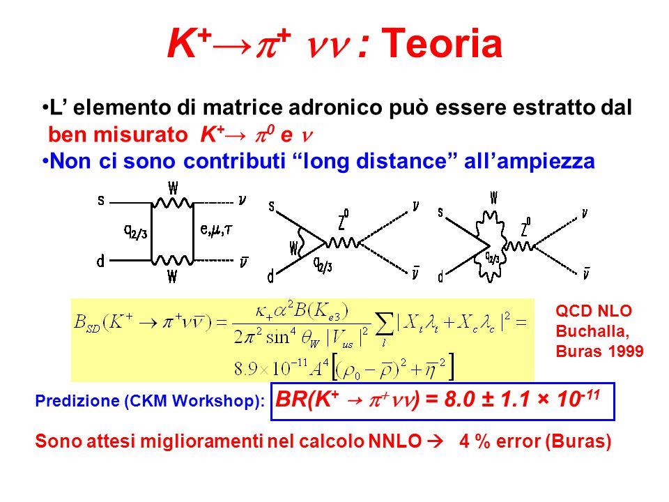 Predizione (CKM Workshop): BR(K + →   ) = 8.0 ± 1.1 × 10 -11 Sono attesi miglioramenti nel calcolo NNLO  4 % error (Buras) K + →  + : Teoria L' elemento di matrice adronico può essere estratto dal ben misurato K + →  0 e Non ci sono contributi long distance all'ampiezza QCD NLO Buchalla, Buras 1999