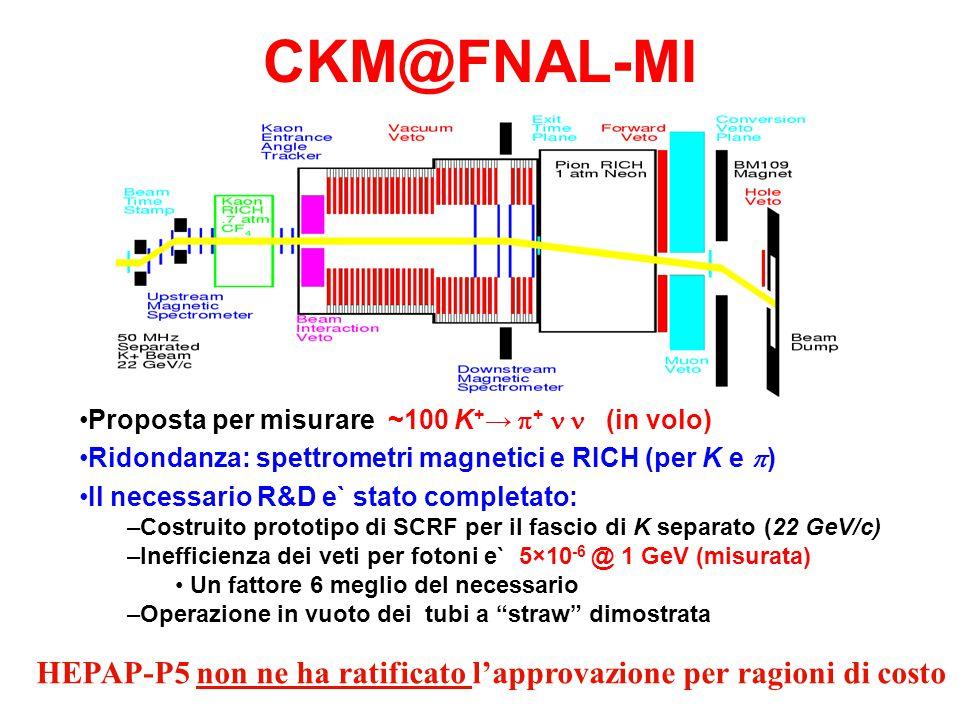 CKM@FNAL-MI Proposta per misurare ~100 K + →  +  (in volo) Ridondanza: spettrometri magnetici e RICH (per K e  ) Il necessario R&D e` stato completato: – –Costruito prototipo di SCRF per il fascio di K separato (22 GeV/c) – –Inefficienza dei veti per fotoni e` 5×10 -6 @ 1 GeV (misurata) Un fattore 6 meglio del necessario – –Operazione in vuoto dei tubi a straw dimostrata HEPAP-P5 non ne ha ratificato l'approvazione per ragioni di costo