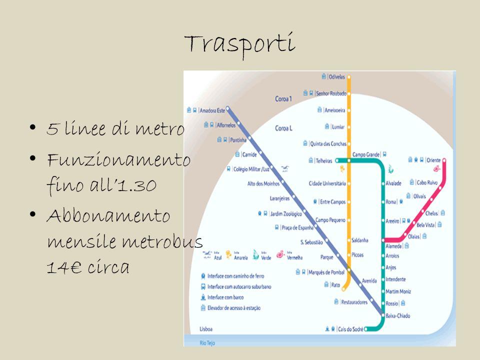 Trasporti 5 linee di metro Funzionamento fino all'1.30 Abbonamento mensile metrobus 14€ circa