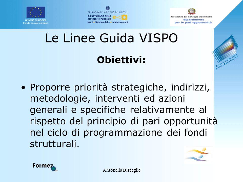 Antonella Bisceglie Le Linee Guida VISPO Obiettivi: Proporre priorità strategiche, indirizzi, metodologie, interventi ed azioni generali e specifiche