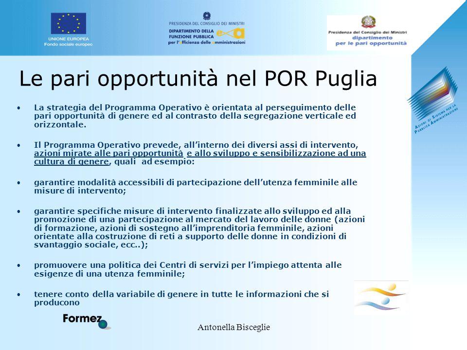 Antonella Bisceglie Le pari opportunità nel POR Puglia La strategia del Programma Operativo è orientata al perseguimento delle pari opportunità di gen