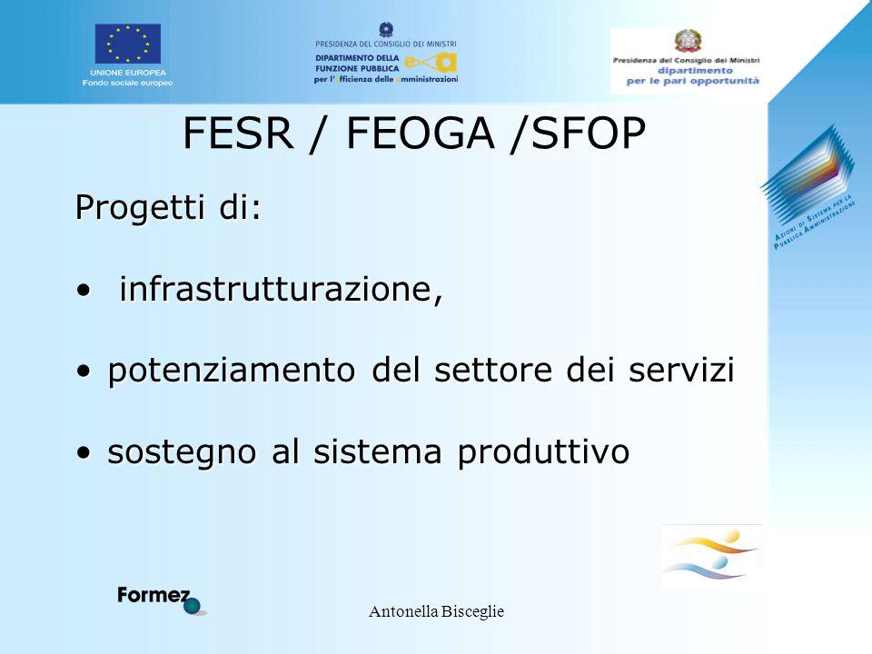 Antonella Bisceglie FESR / FEOGA /SFOP Progetti di: infrastrutturazione, infrastrutturazione, potenziamento del settore dei servizipotenziamento del s