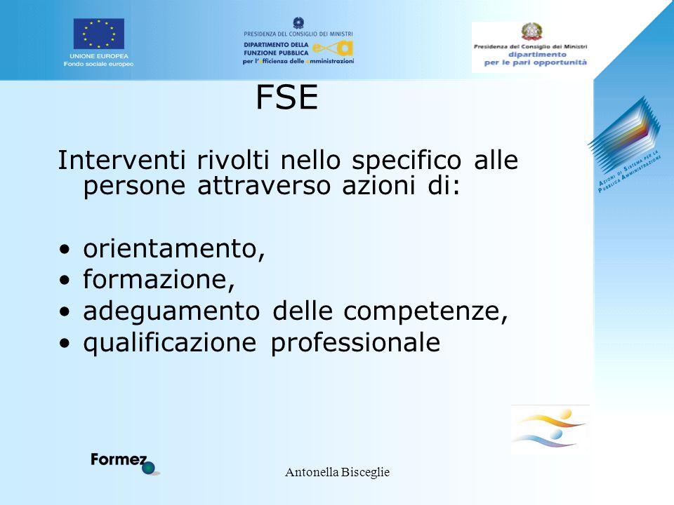 Antonella Bisceglie FSE Interventi rivolti nello specifico alle persone attraverso azioni di: orientamento, formazione, adeguamento delle competenze,