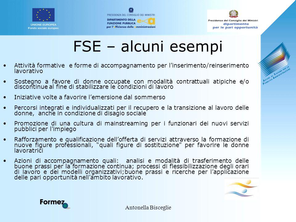 Antonella Bisceglie FSE – alcuni esempi Attività formative e forme di accompagnamento per l'inserimento/reinserimento lavorativo Sostegno a favore di
