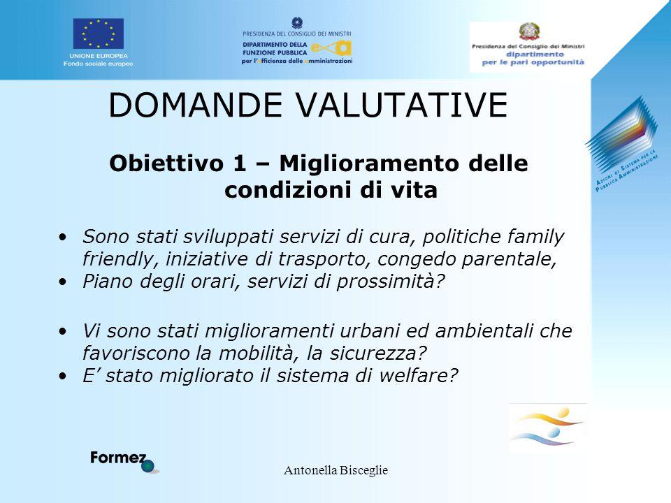 Antonella Bisceglie DOMANDE VALUTATIVE Obiettivo 1 – Miglioramento delle condizioni di vita Sono stati sviluppati servizi di cura, politiche family fr