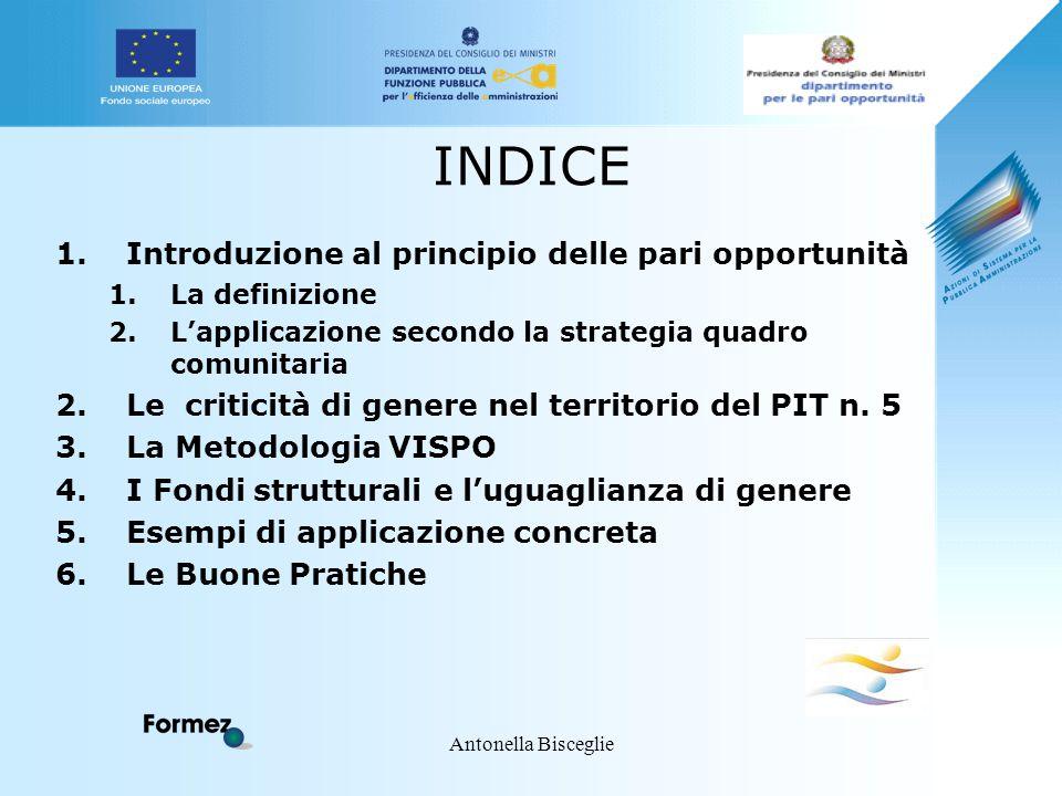 Antonella Bisceglie INDICE 1.Introduzione al principio delle pari opportunità 1.La definizione 2.L'applicazione secondo la strategia quadro comunitari