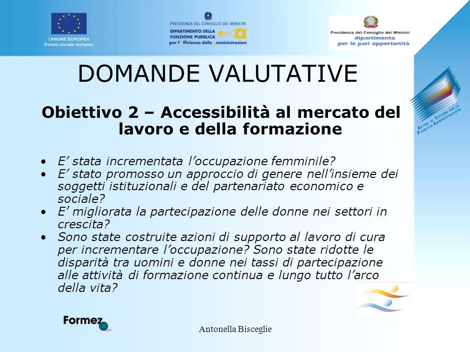 Antonella Bisceglie DOMANDE VALUTATIVE Obiettivo 2 – Accessibilità al mercato del lavoro e della formazione E' stata incrementata l'occupazione femmin