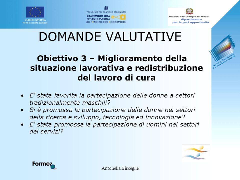 Antonella Bisceglie DOMANDE VALUTATIVE Obiettivo 3 – Miglioramento della situazione lavorativa e redistribuzione del lavoro di cura E' stata favorita