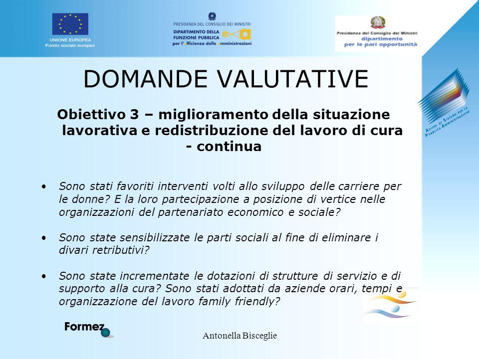 Antonella Bisceglie DOMANDE VALUTATIVE Obiettivo 3 – miglioramento della situazione lavorativa e redistribuzione del lavoro di cura - continua Sono st