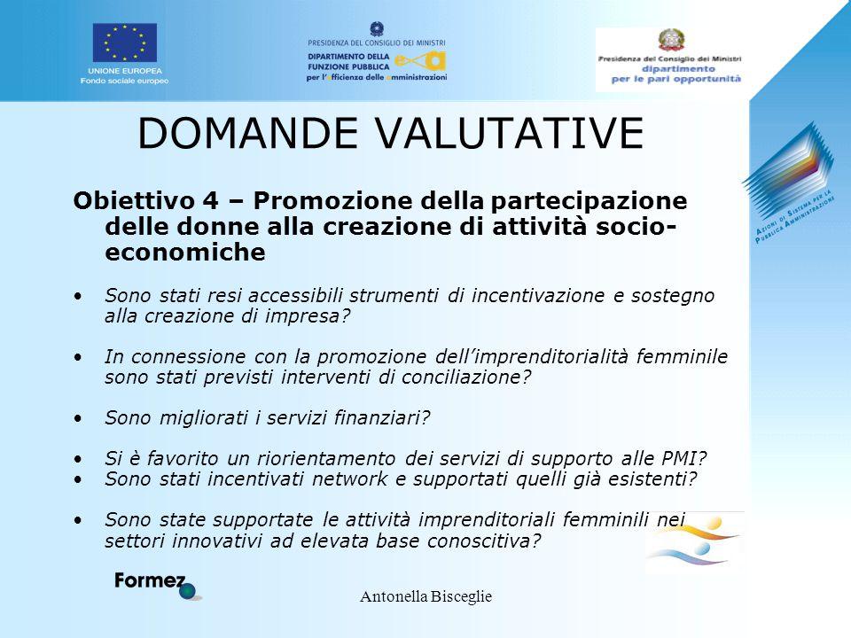 Antonella Bisceglie DOMANDE VALUTATIVE Obiettivo 4 – Promozione della partecipazione delle donne alla creazione di attività socio- economiche Sono sta