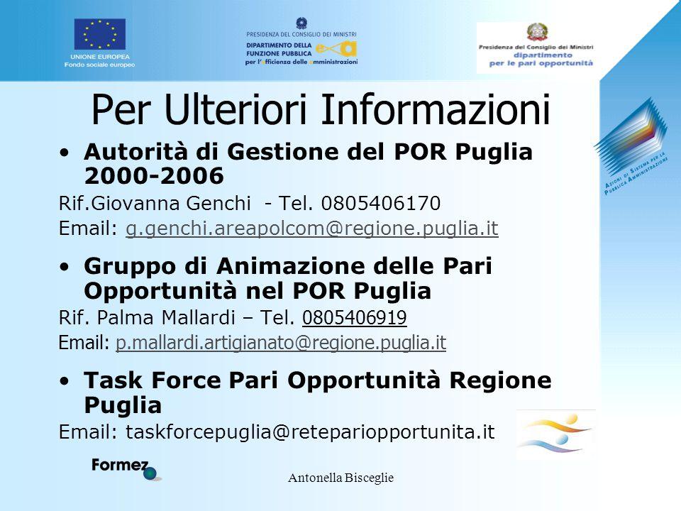 Antonella Bisceglie Per Ulteriori Informazioni Autorità di Gestione del POR Puglia 2000-2006 Rif.Giovanna Genchi - Tel. 0805406170 Email: g.genchi.are