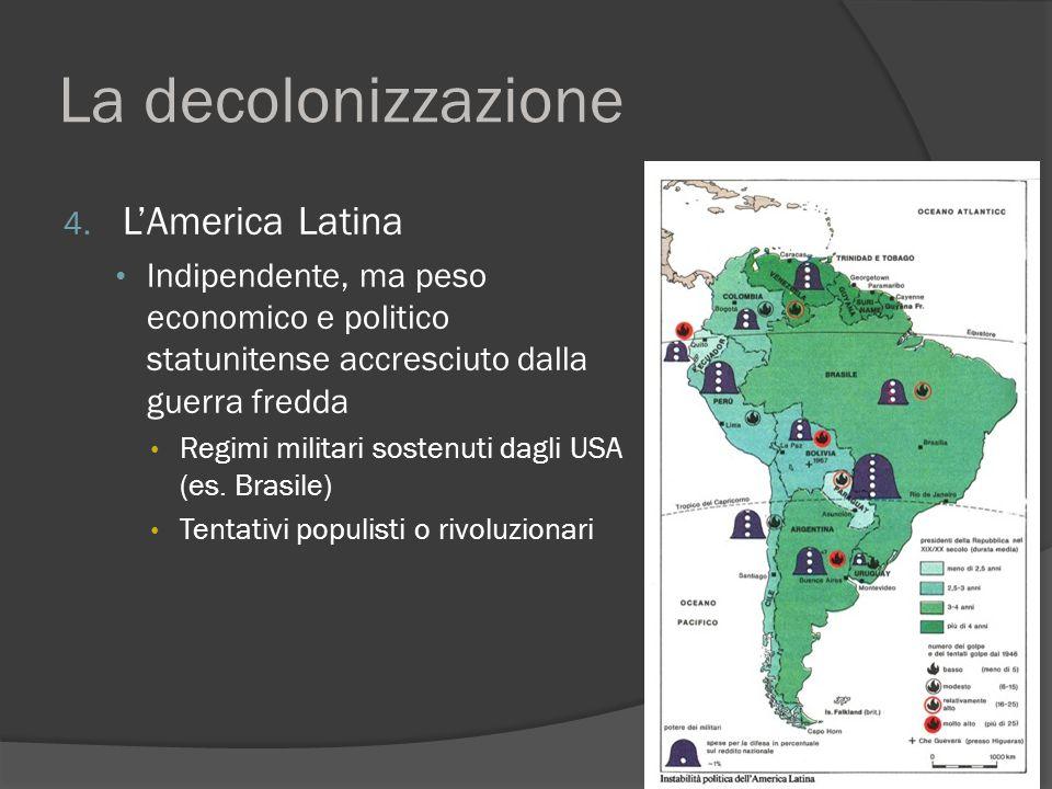 La decolonizzazione 4. L'America Latina Indipendente, ma peso economico e politico statunitense accresciuto dalla guerra fredda Regimi militari sosten