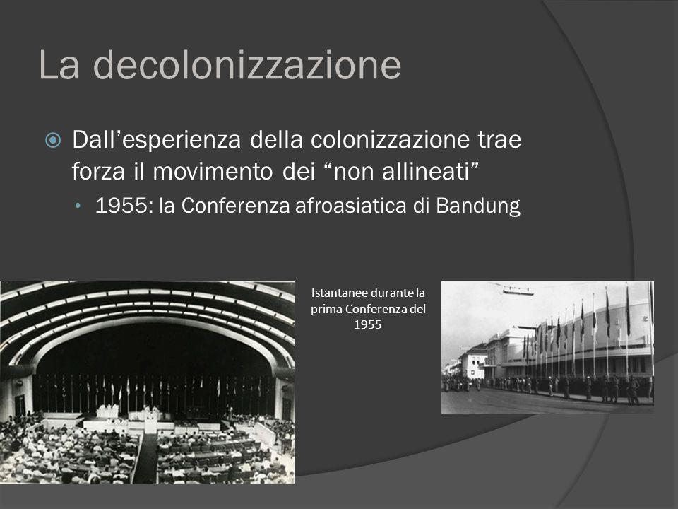 La decolonizzazione  Lo sviluppo del movimento dei non allineati Paesi rappresentati alla Conferenza di Bandung, Indonesia, nel 1955: 29 nazioni indipendenti, più di metà della popolazione mondiale ; il Vietnam ha due rappresentanti, il Nord e il Sud