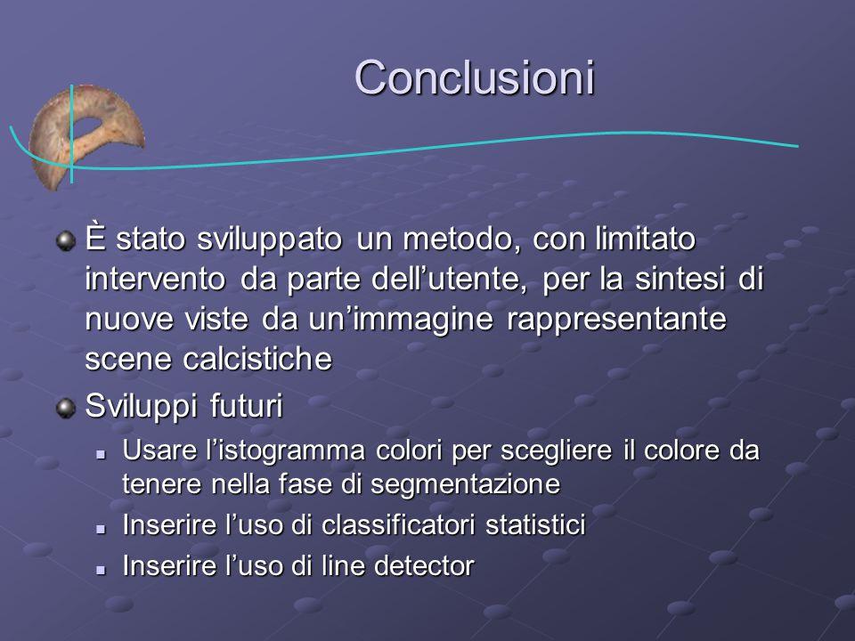 Conclusioni È stato sviluppato un metodo, con limitato intervento da parte dell'utente, per la sintesi di nuove viste da un'immagine rappresentante sc