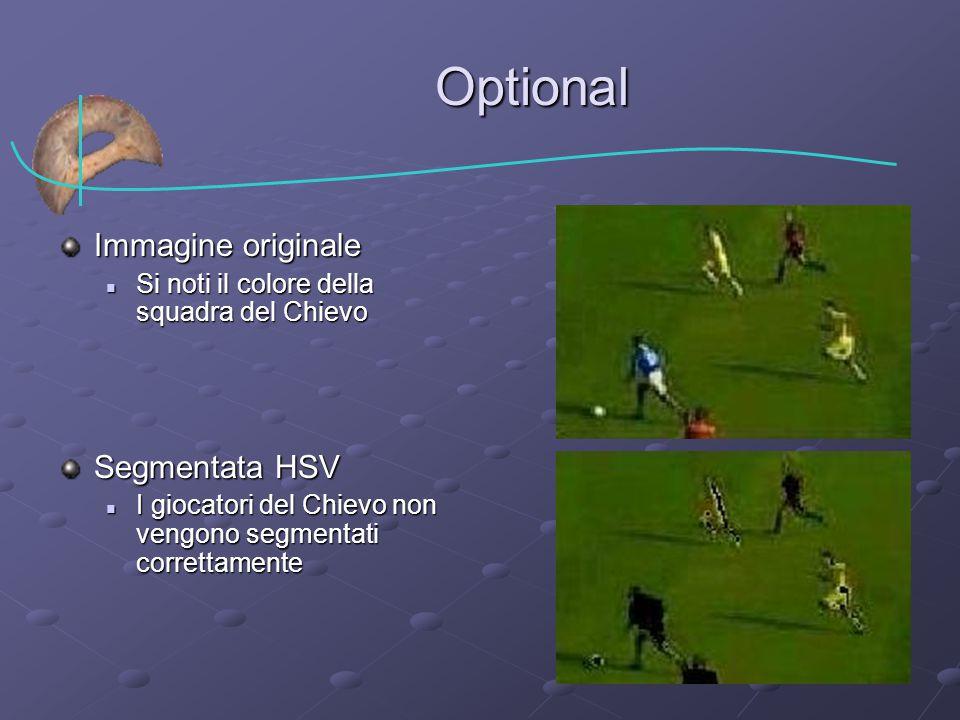 Optional Immagine originale Si noti il colore della squadra del Chievo Si noti il colore della squadra del Chievo Segmentata HSV I giocatori del Chievo non vengono segmentati correttamente I giocatori del Chievo non vengono segmentati correttamente