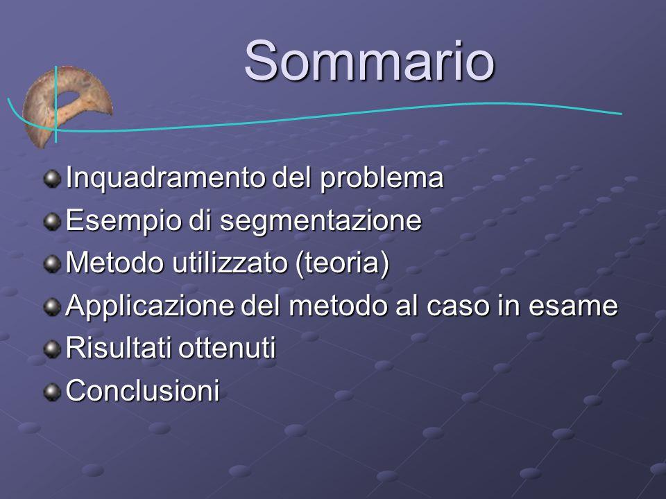 Sommario Inquadramento del problema Esempio di segmentazione Metodo utilizzato (teoria) Applicazione del metodo al caso in esame Risultati ottenuti Conclusioni