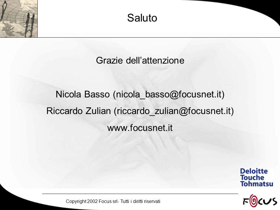 Copyright 2002 Focus srl- Tutti i diritti riservati Saluto Grazie dell'attenzione Nicola Basso (nicola_basso@focusnet.it) Riccardo Zulian (riccardo_zulian@focusnet.it) www.focusnet.it