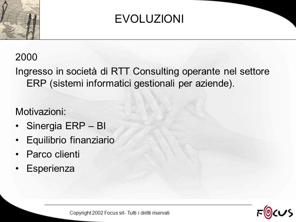 Copyright 2002 Focus srl- Tutti i diritti riservati EVOLUZIONI 2000 Ingresso in società di RTT Consulting operante nel settore ERP (sistemi informatici gestionali per aziende).