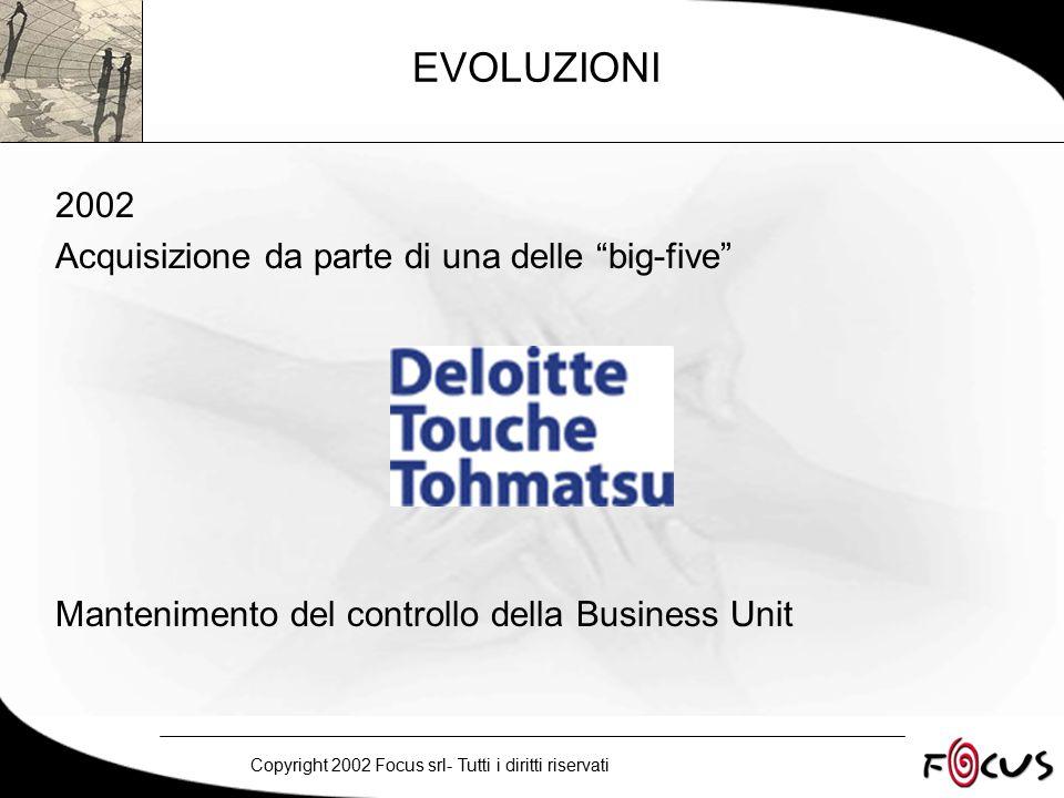Copyright 2002 Focus srl- Tutti i diritti riservati EVOLUZIONI 2002 Acquisizione da parte di una delle big-five Mantenimento del controllo della Business Unit