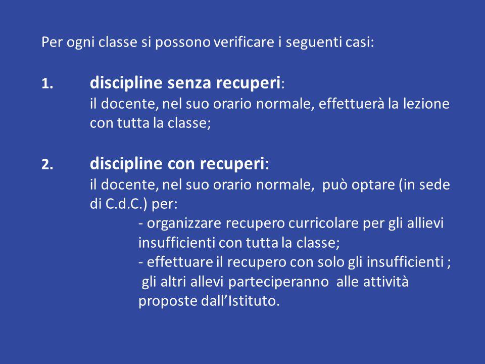 Per ogni classe si possono verificare i seguenti casi: 1.