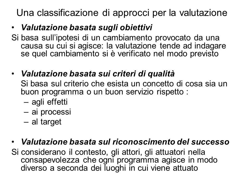 Una classificazione di approcci per la valutazione Valutazione basata sugli obiettivi Si basa sull'ipotesi di un cambiamento provocato da una causa su cui si agisce: la valutazione tende ad indagare se quel cambiamento si è verificato nel modo previsto Valutazione basata sui criteri di qualità Si basa sul criterio che esista un concetto di cosa sia un buon programma o un buon servizio rispetto : –agli effetti –ai processi –al target Valutazione basata sul riconoscimento del successo Si considerano il contesto, gli attori, gli attuatori nella consapevolezza che ogni programma agisce in modo diverso a seconda dei luoghi in cui viene attuato