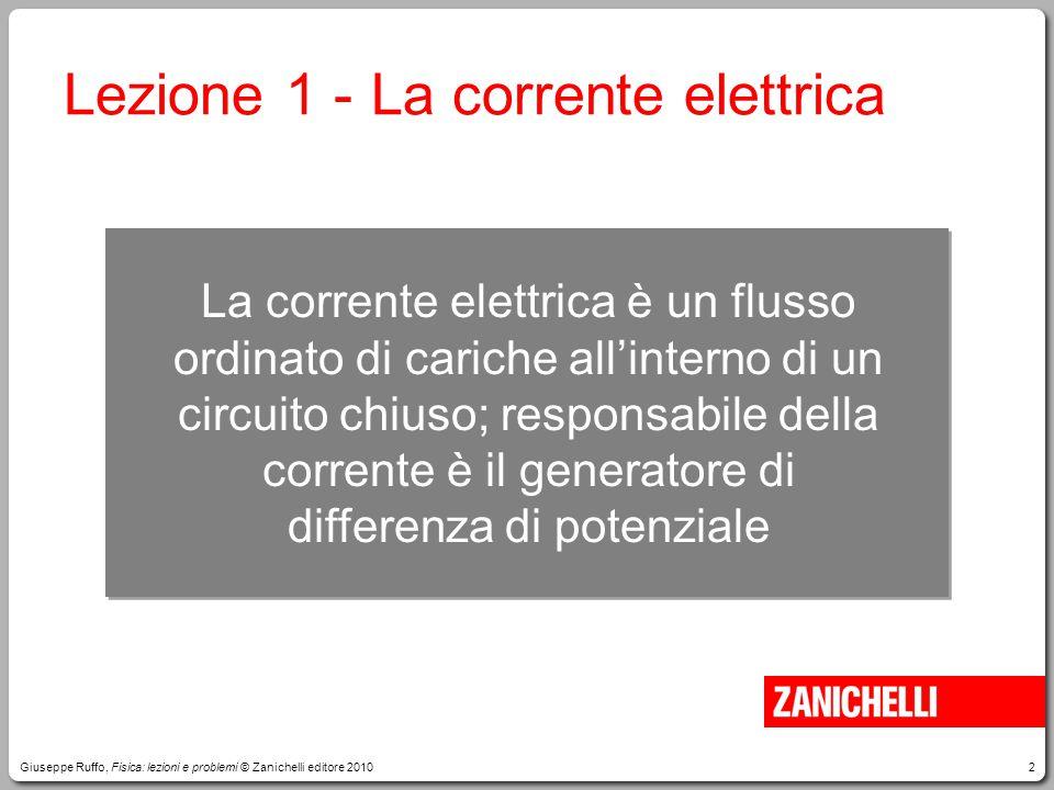 2 Lezione 1 - La corrente elettrica La corrente elettrica è un flusso ordinato di cariche all'interno di un circuito chiuso; responsabile della corren