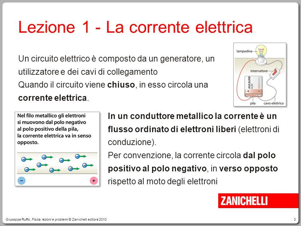 3 Lezione 1 -La corrente elettrica Un circuito elettrico è composto da un generatore, un utilizzatore e dei cavi di collegamento Quando il circuito vi