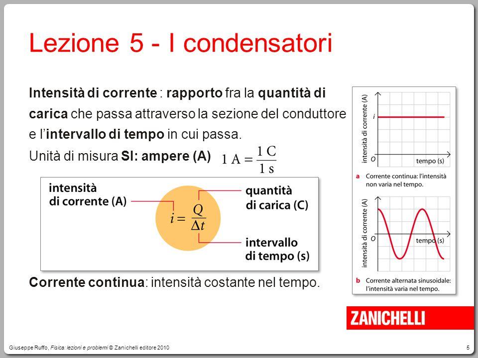 5 Lezione 5 -I condensatori Intensità di corrente : rapporto fra la quantità di carica che passa attraverso la sezione del conduttore e l'intervallo