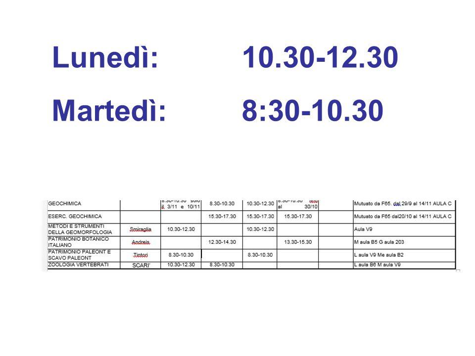 Lunedì:10.30-12.30 Martedì:8:30-10.30