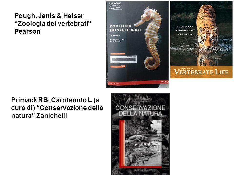 Primack RB, Carotenuto L (a cura di) Conservazione della natura Zanichelli Pough, Janis & Heiser Zoologia dei vertebrati Pearson