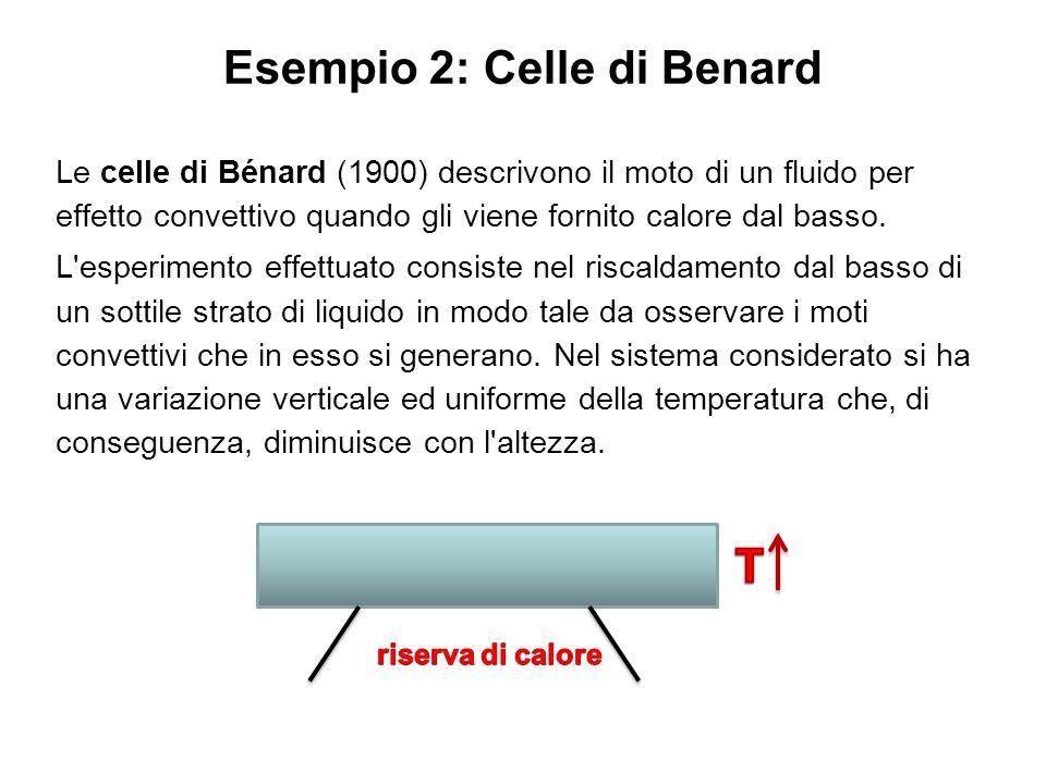Esempio 2: Celle di Benard Le celle di Bénard (1900) descrivono il moto di un fluido per effetto convettivo quando gli viene fornito calore dal basso.