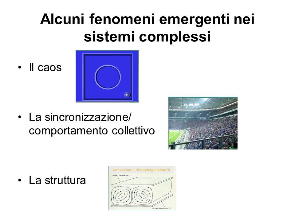 Alcuni fenomeni emergenti nei sistemi complessi Il caos La sincronizzazione/ comportamento collettivo La struttura
