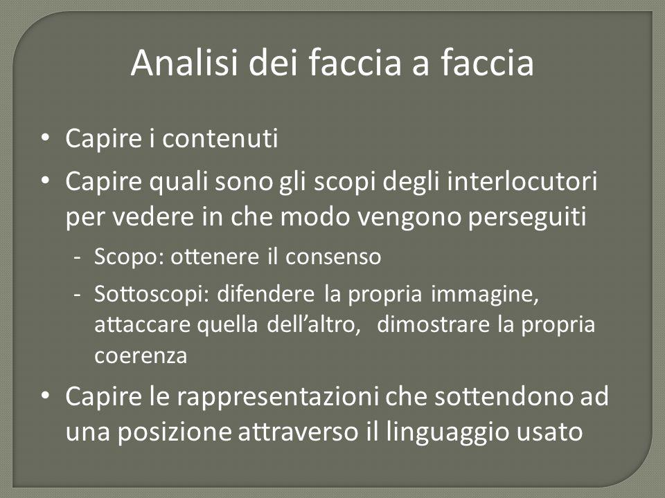Analisi dei faccia a faccia Capire i contenuti Capire quali sono gli scopi degli interlocutori per vedere in che modo vengono perseguiti -Scopo: otten