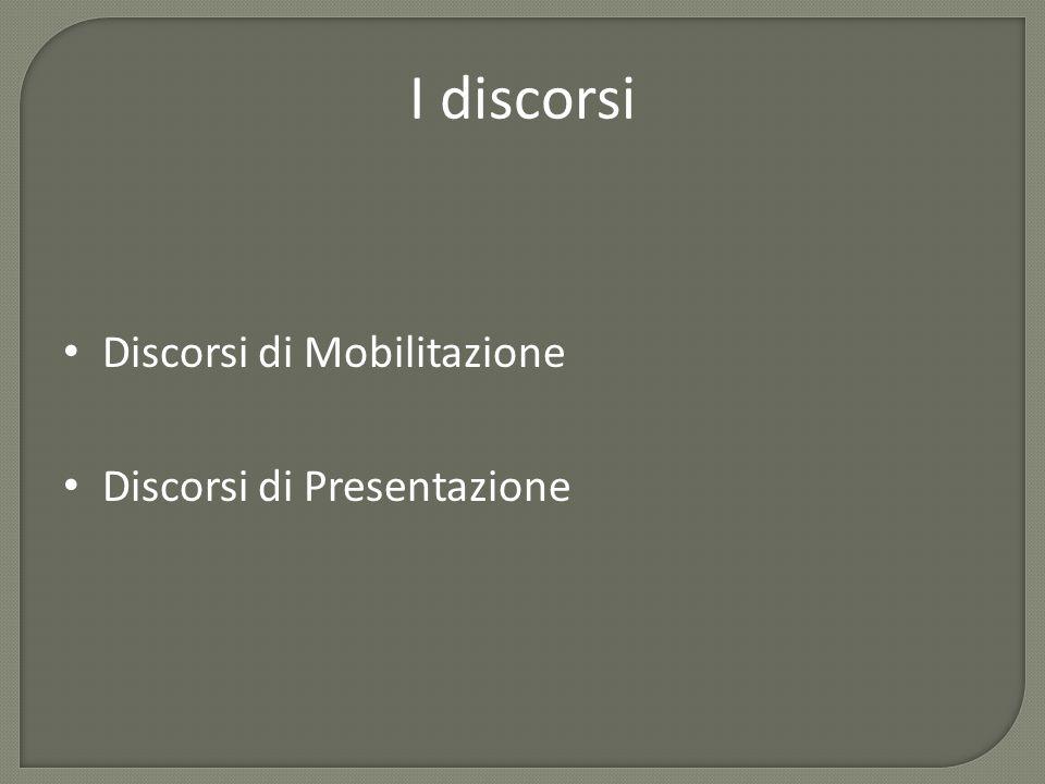 I discorsi Discorsi di Mobilitazione Discorsi di Presentazione
