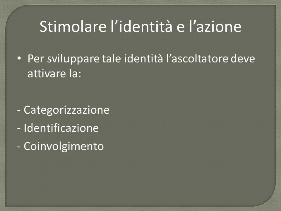 Stimolare l'identità e l'azione Per sviluppare tale identità l'ascoltatore deve attivare la: - Categorizzazione - Identificazione - Coinvolgimento