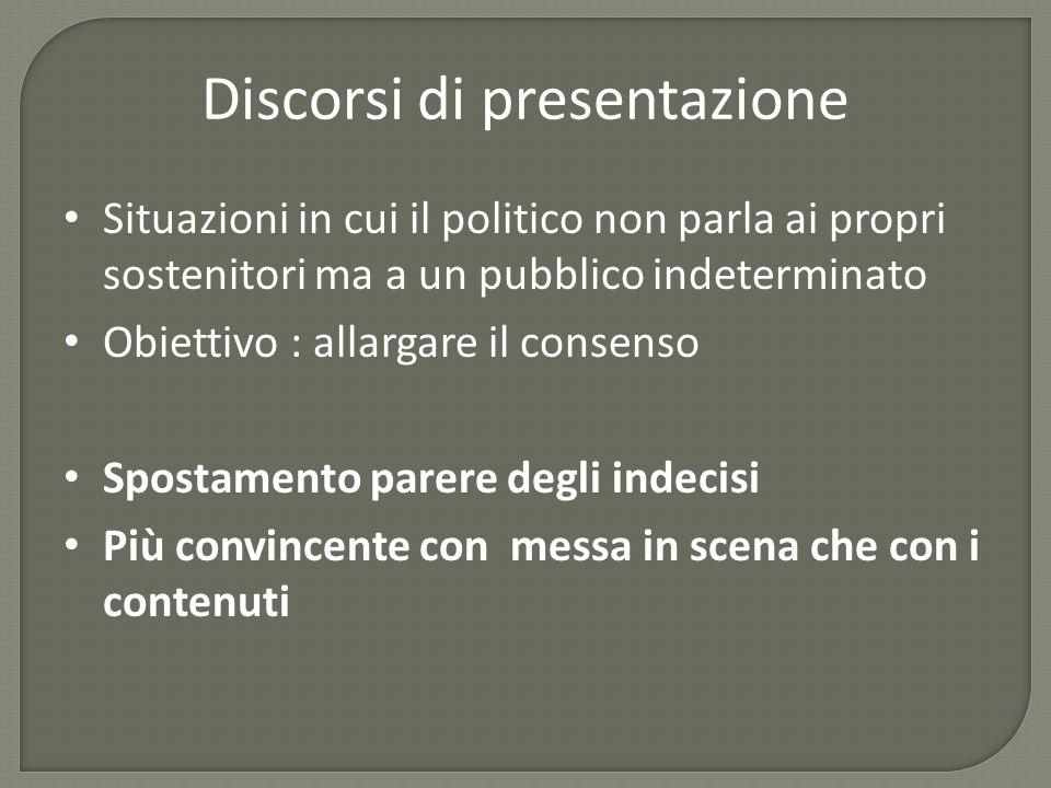 Discorsi di presentazione Situazioni in cui il politico non parla ai propri sostenitori ma a un pubblico indeterminato Obiettivo : allargare il consen