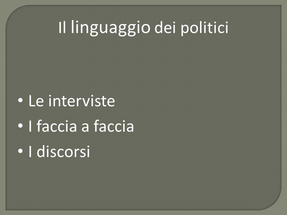 Il linguaggio dei politici Le interviste I faccia a faccia I discorsi