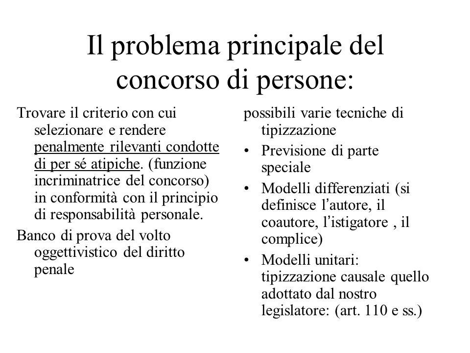 Il problema principale del concorso di persone: Trovare il criterio con cui selezionare e rendere penalmente rilevanti condotte di per sé atipiche.