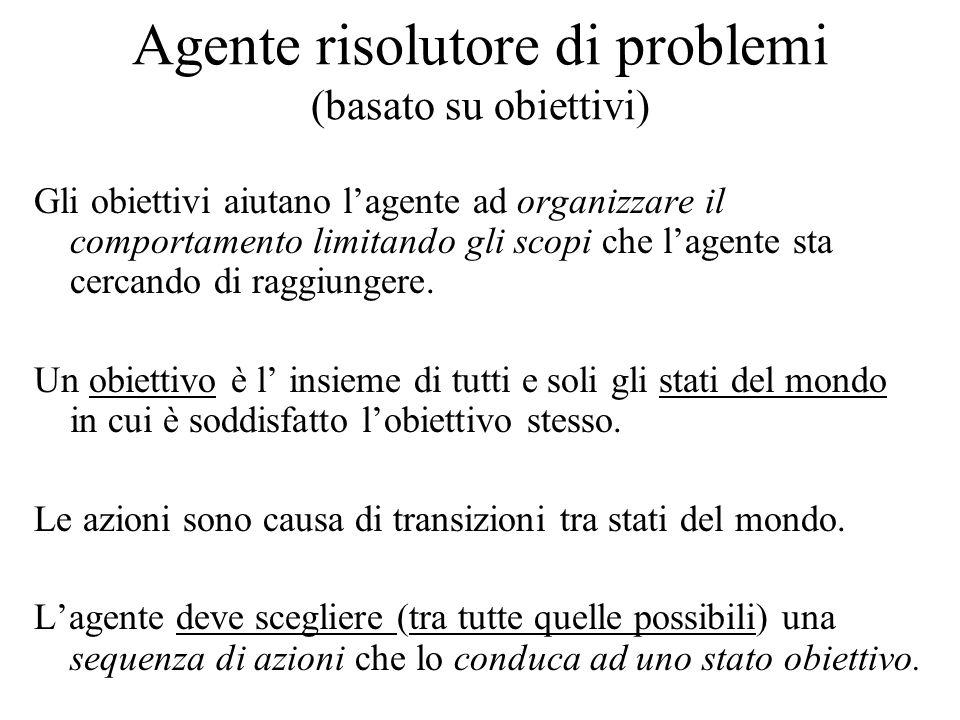 Agente risolutore di problemi (basato su obiettivi) Gli obiettivi aiutano l'agente ad organizzare il comportamento limitando gli scopi che l'agente sta cercando di raggiungere.
