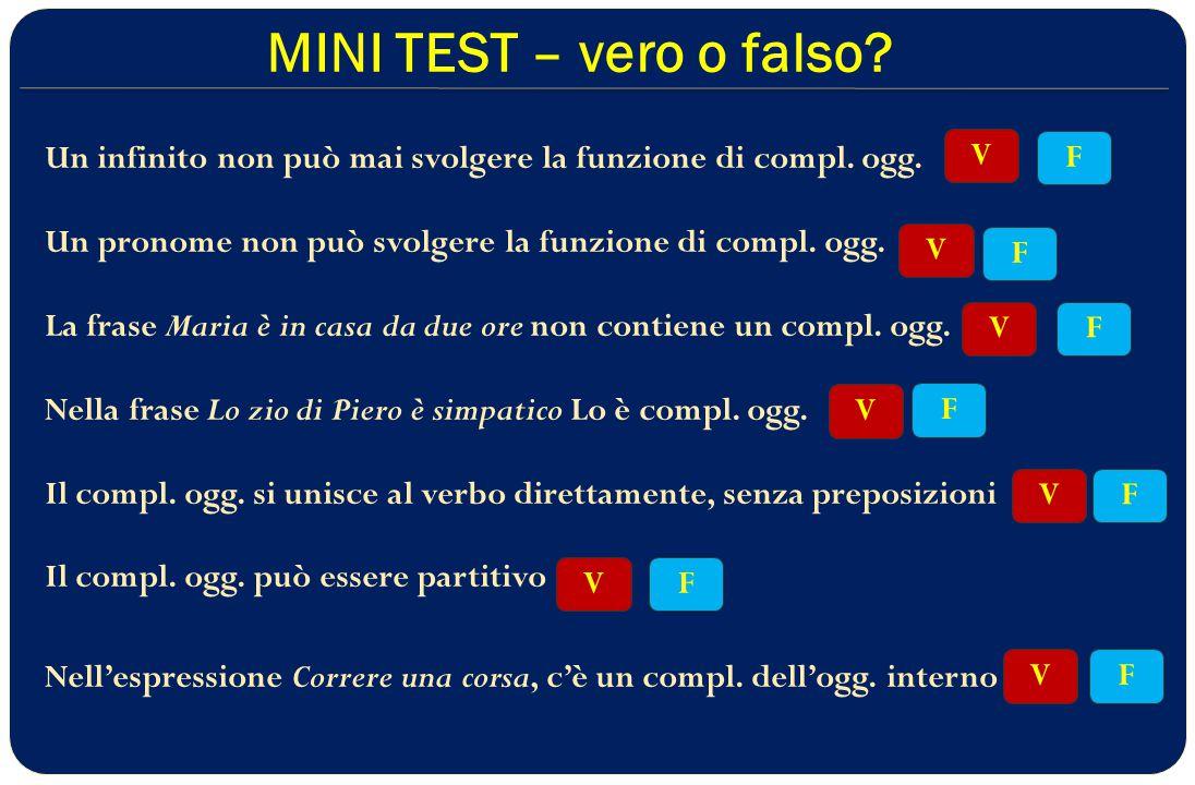 MINI TEST – vero o falso.Un infinito non può mai svolgere la funzione di compl.