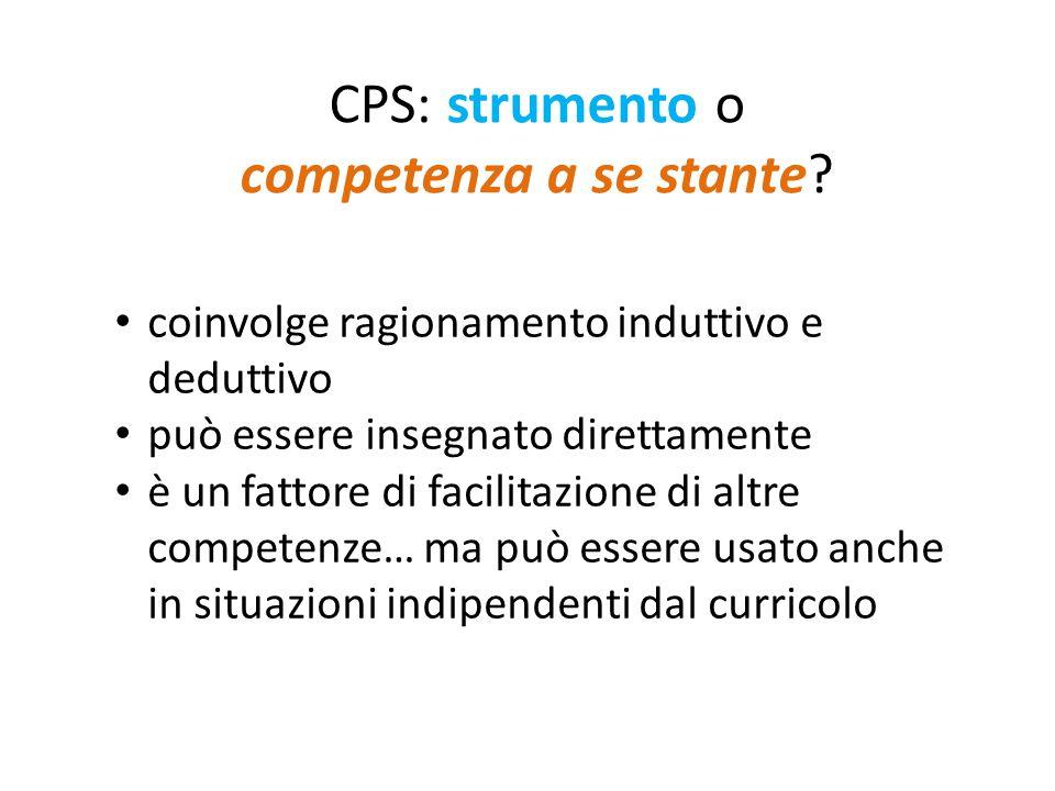 CPS: strumento o competenza a se stante? coinvolge ragionamento induttivo e deduttivo può essere insegnato direttamente è un fattore di facilitazione