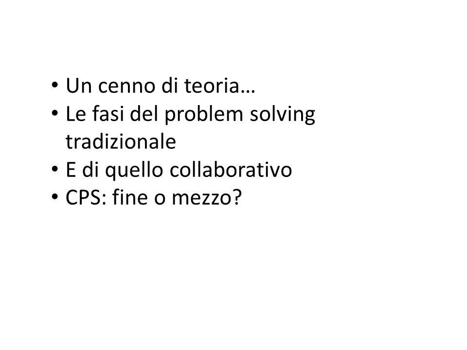 Un cenno di teoria… Le fasi del problem solving tradizionale E di quello collaborativo CPS: fine o mezzo?